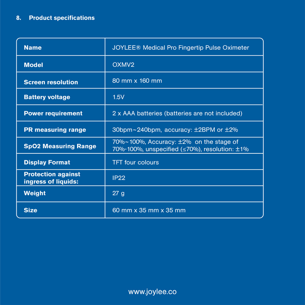 medical pulse oximeter guideline product specification