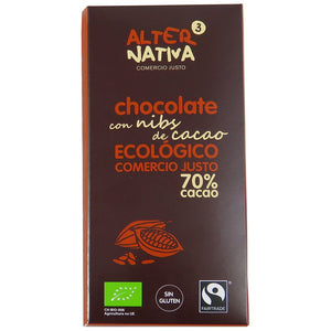 Chocolate 70% con Nibs de Cacao Bio Fairtrade 80g - Delicatessin