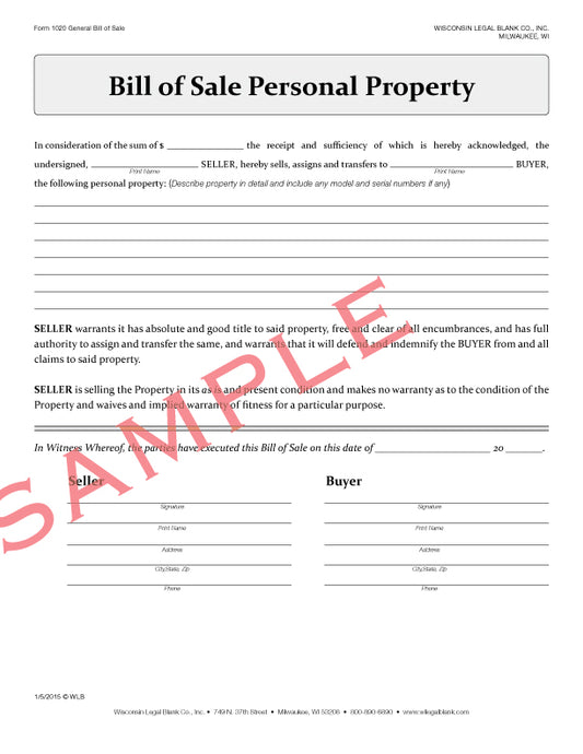 1020 Bill Of Sale Personal Property
