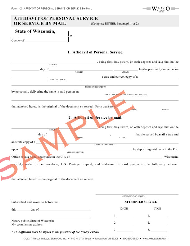 103 Affidavit of Service Personal or Mail