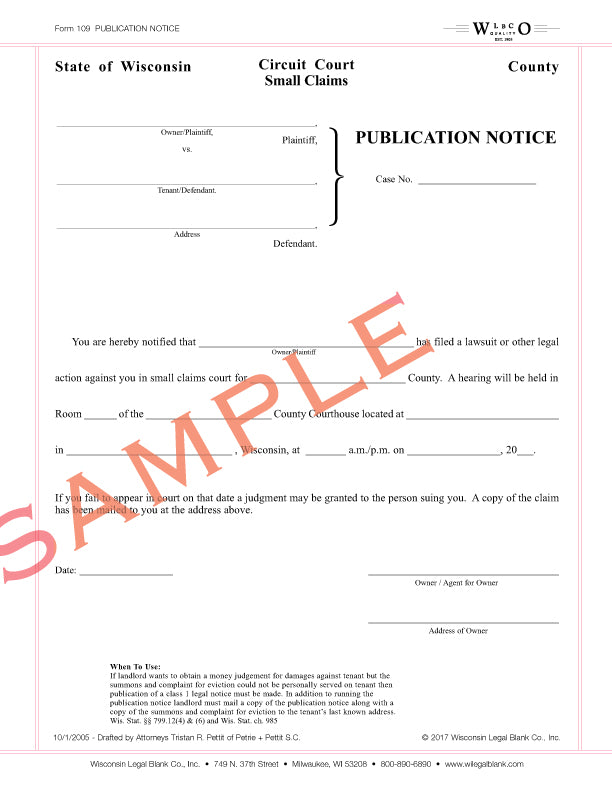 109 Publication Notice for Small Claims