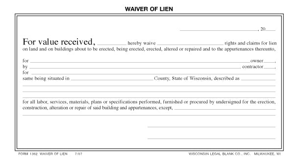 image about Printable Lien Waiver referred to as Wisconsin Prison Blank