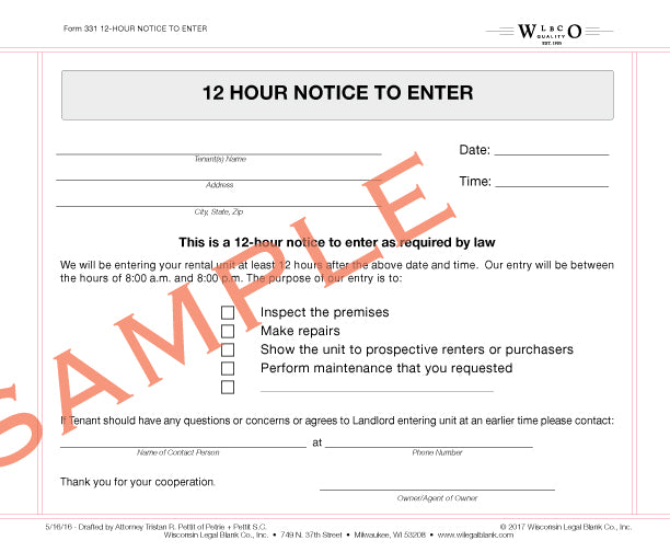 Wisconsin legal blank 331 12 hour notice to enter thecheapjerseys Image collections