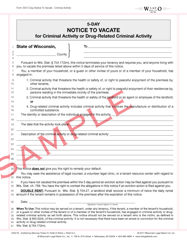 334 5-Day Notice to Vacate for Criminal Activity or Drug Related Criminal Activity