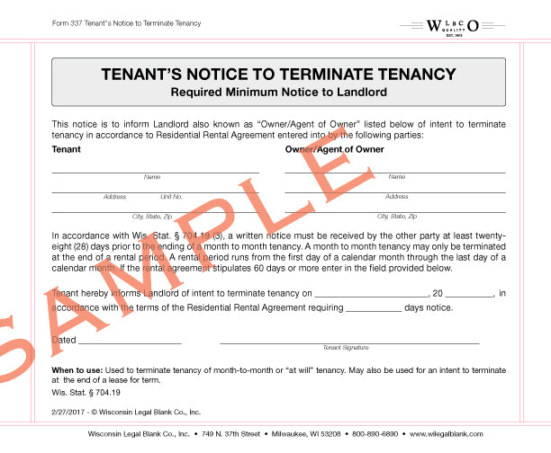 Wisconsin legal blank 337 tenants notice to terminate tenancy thecheapjerseys Image collections