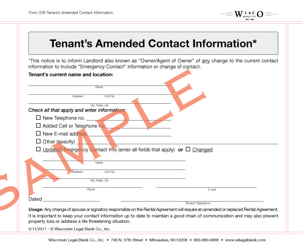 338 Tenant's Amended Contact Information