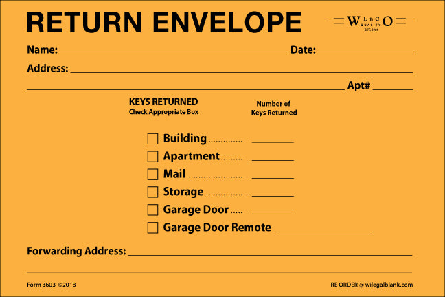 Key Return Envelope