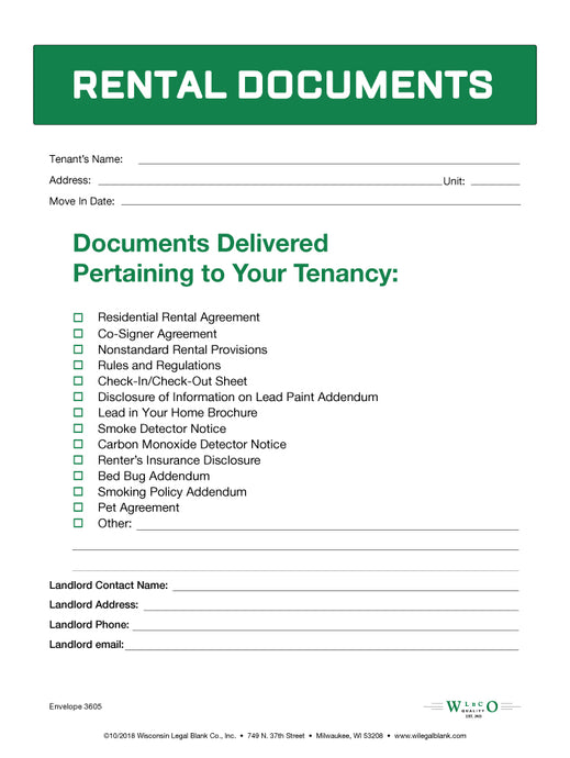 Tenant Rental Document Envelope