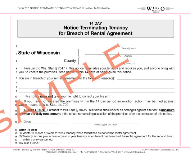 Wisconsin legal blank 767 14 day notice terminating tenancy for breach thecheapjerseys Gallery