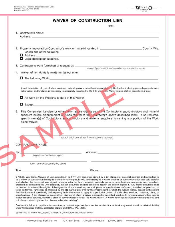 783 Waiver of Construction Lien