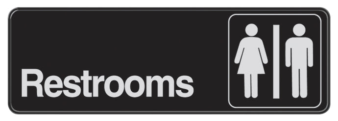 Restrooms 3 X 9 Self Adhesive Sign