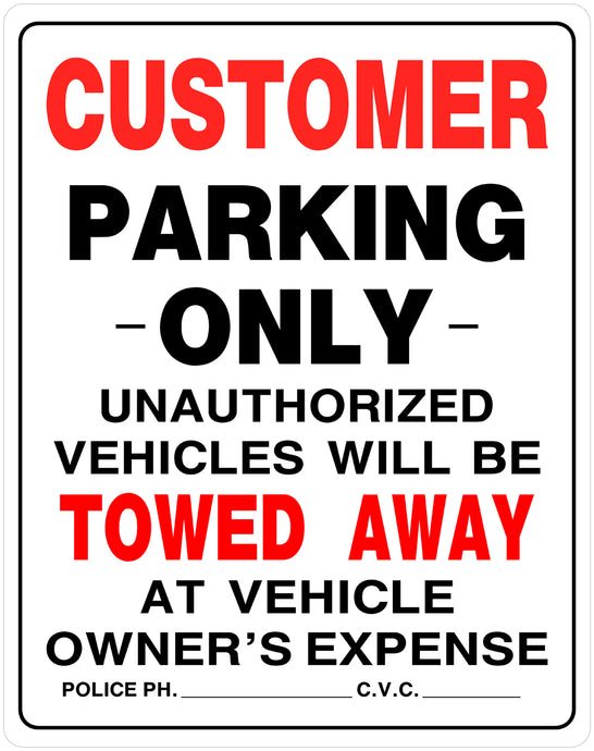 Customer Parking Only 15 x 19 HD PVC Sign