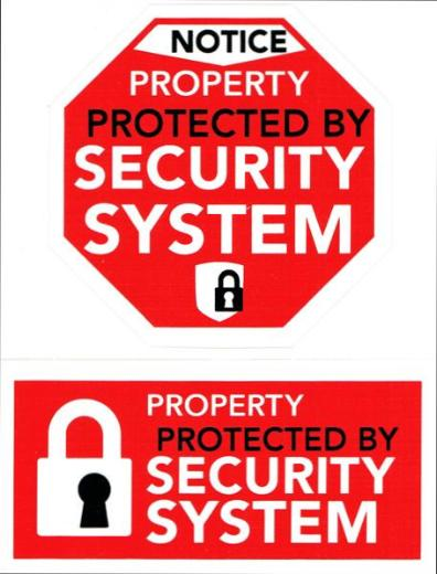 Notice Property Protected by Security System 2-Stickers