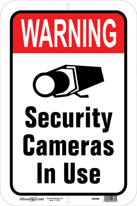 Warning Security Cameras in Use 12 x 18 Aluminum Sign