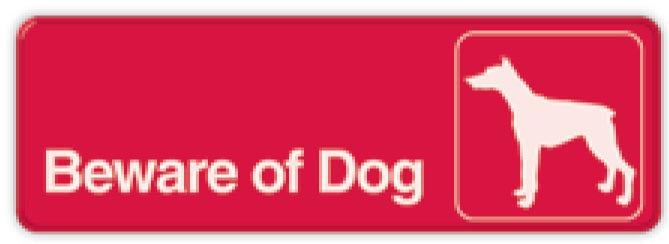 Beware of Dog 3 X 9 Self Adhesive Sign