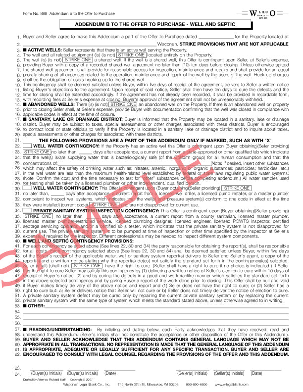 888 Addendum B Offer to Purchase Well & Septic