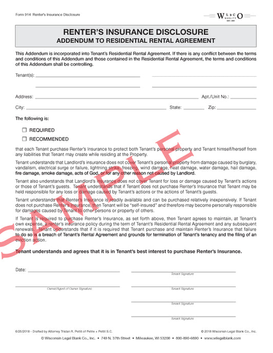 914 Renters Insurance Disclosure Addendum