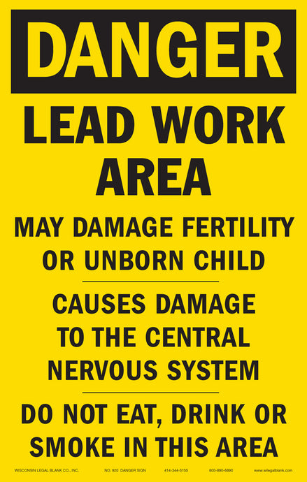 920 Lead Hazard Sign for Renovators