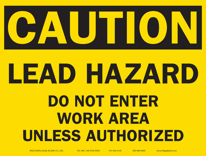 940 Lead Hazard Sign for Renovators