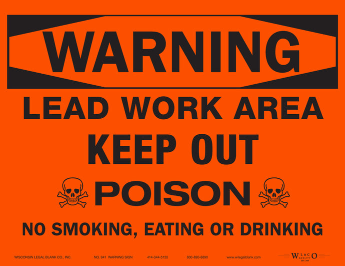 941 Lead Hazard Sign for Renovators Red w/Skull