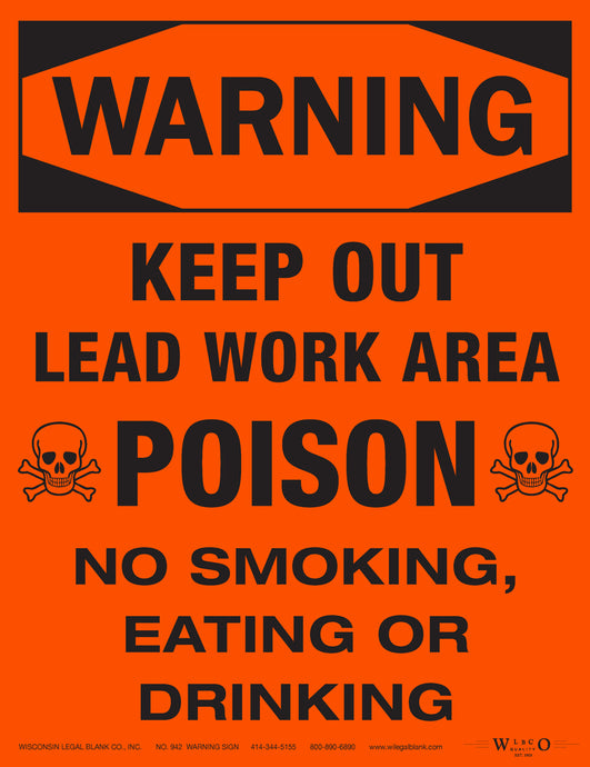 942 Lead Hazard Sign for Renovators Red w/Skull