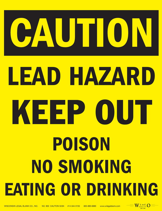 950 Lead Hazard Sign for Renovators Keep Out