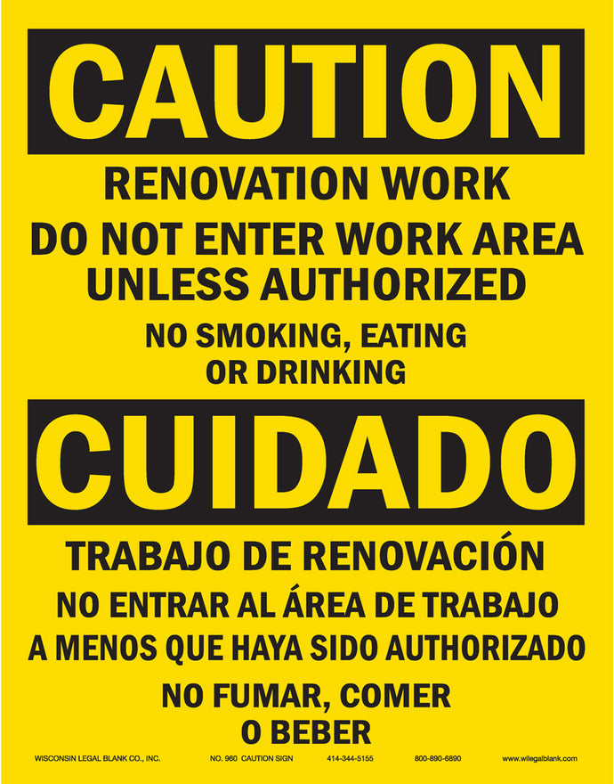 960 Renovation Caution Sign in Spanish & English