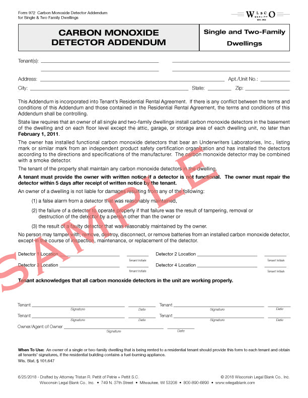 972 Carbon Monoxide Detector Notice for Single & Two Family