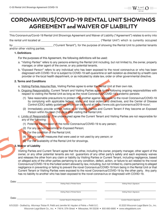 C-03 Rental Unit Showings Agreement and Waiver of Liability