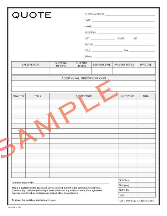 FM-20 Quote Form