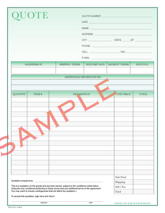 FM-21 Quote Form