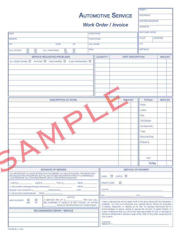 FM-36A Automotive Service Invoice/Work Order