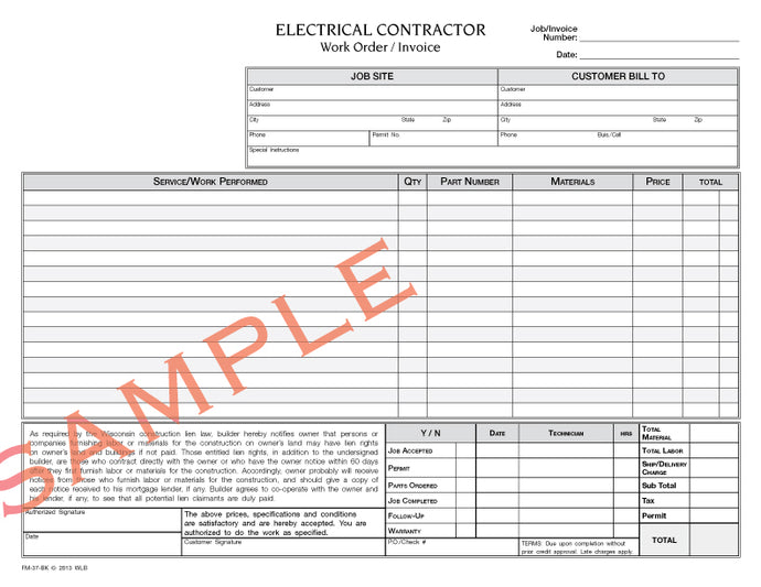 Wisconsin Legal Blank - Invoice for electrical work