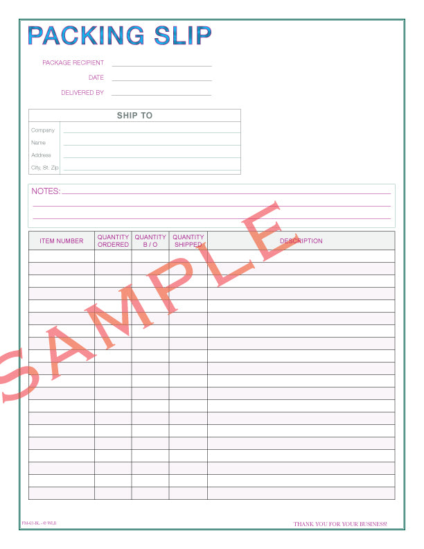 FM-62 Packing Slip