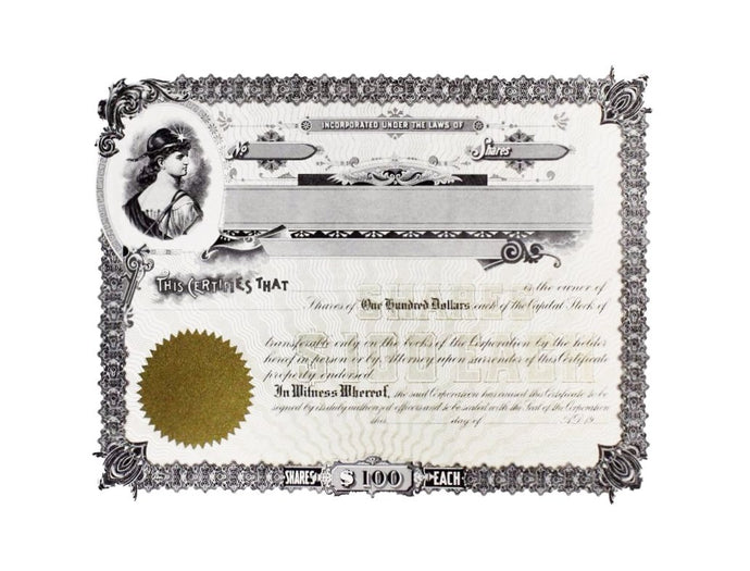 Certificate of Shares $100