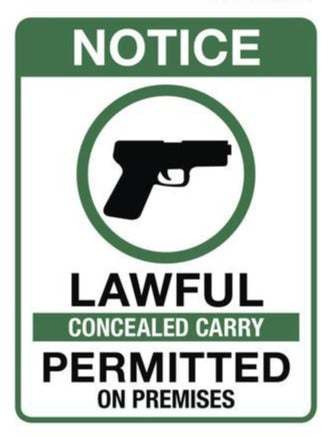 Lawful Concealed Carry Permitted On Premises Sticker 4