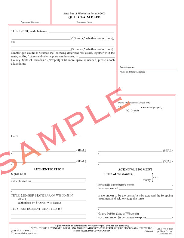 quit claim deed form wisconsin  SB-9 Quit Claim Deed