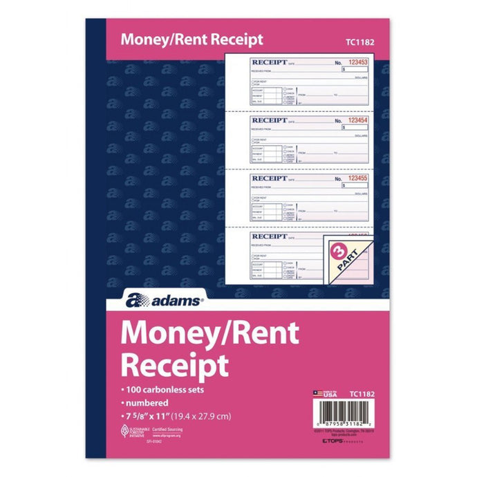 TC1182 Dual Money & Rent Receipt Book