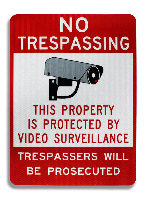 No Trespassing Property Protected by Video Surveillance 18 x 24 EGP Aluminum Sign