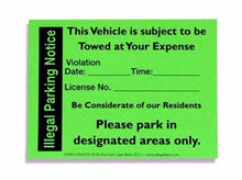 Illegal Parking Notice Sticker