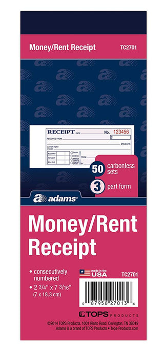 TC2701 Money & Rent Receipt Book
