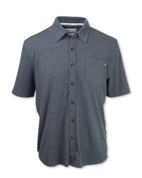 Performance Knit Short Sleeve Button-Up