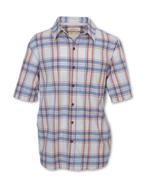 Short-Sleeved Stretch Plaid