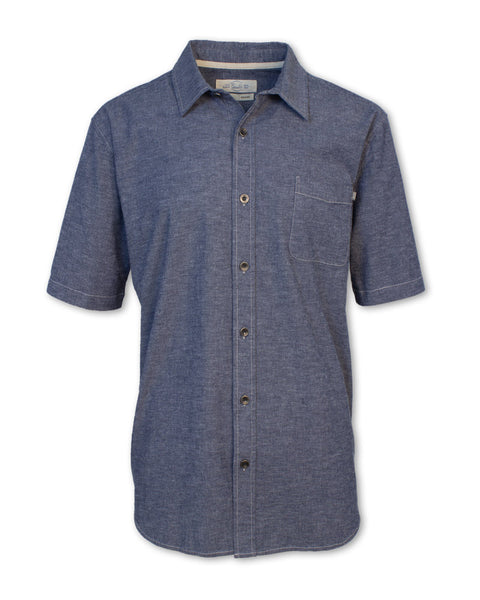 Short-Sleeved Stretch Chambray Shirt
