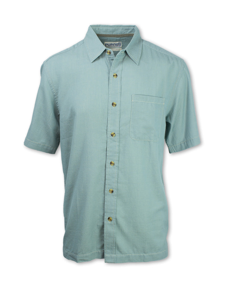 Short-Sleeved Chambray Shirt