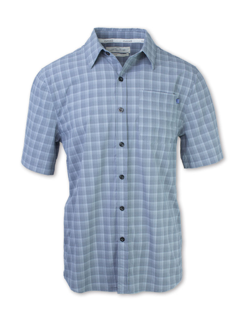 4-way Stretch Quick Dry Grey Plaid Shirt