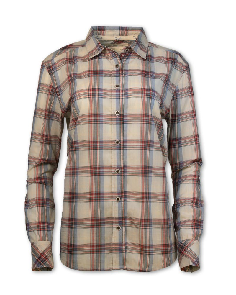 Long-Sleeved Madras Plaid Shirt