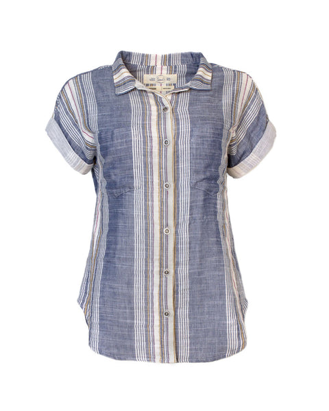 Short-Sleeved Double-Sided Striped Shirt