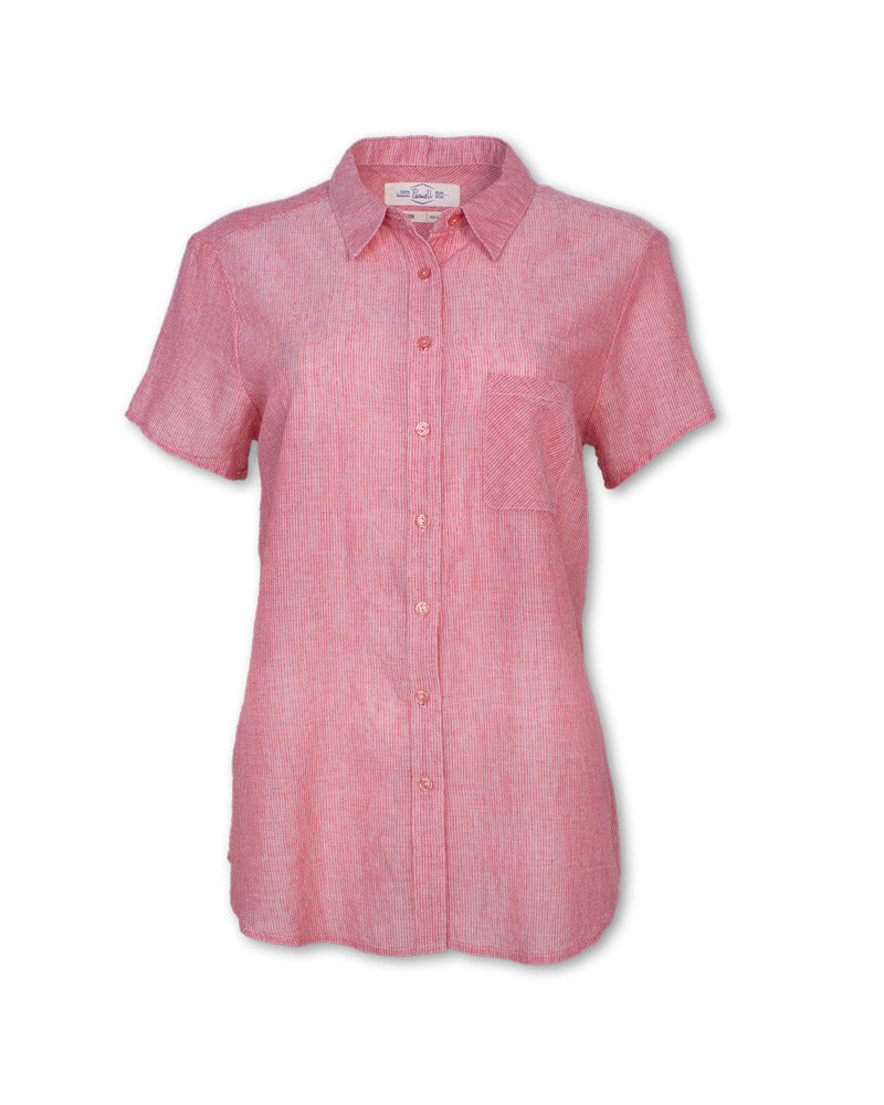 Short-Sleeved Pinstripe Shirt
