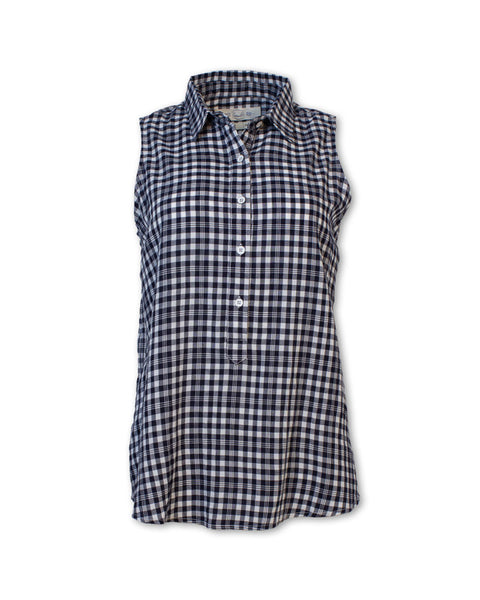 Sleeveless Gingham Checkered Shirt
